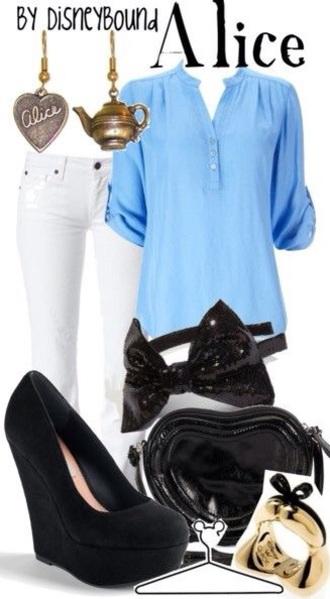 bag blouse hair accessory jewels pants shoes black bag shoulder bag