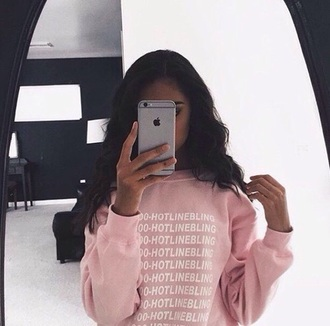 sweater pink sweater crewneck hotline bling jumper pink girly girl girly wishlist light pink baby pink rose wholesale rose iphone baddies cute drake pastel pink pastel sweatshirt pullover