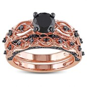 jewels,evolees,evolees.com,wedding ring set,rose gold bridal ring set,round black diamond bridal ring set