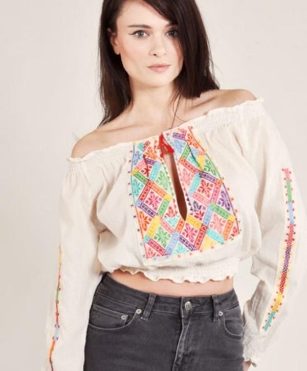 blouse cream rumanian blouse ukraine ukraine style ukrainian motive