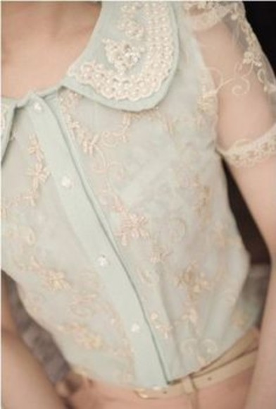 dress pearls lace vintage blue dress peter pan collar floral