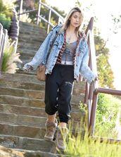 pants,mou boots,jacket,model,paris jackson,mou,denim jacket,streetstyle,celebrity style