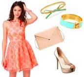 dress,peach,mini dress,high neck,skater dress,lace dress