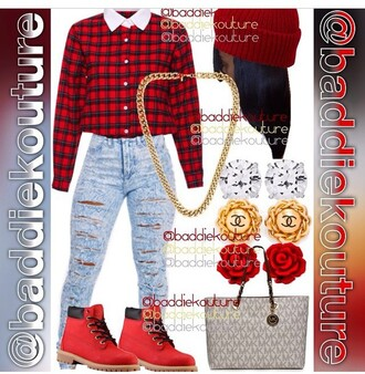 shoes timberland boots shoes timberlands boots red red timberlands boots sneakers red sneakers shirt jeans hair accessory make-up