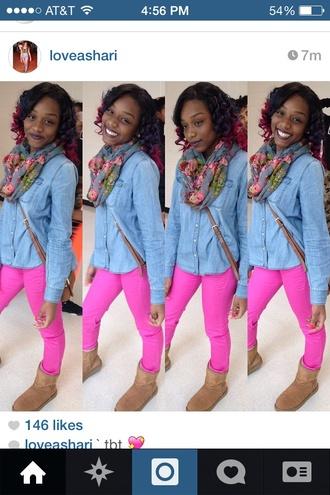loveashari denim jacket jeans pink floral scarf pattern pop of color infinity scarf sakattackz atlanta atl wercharm