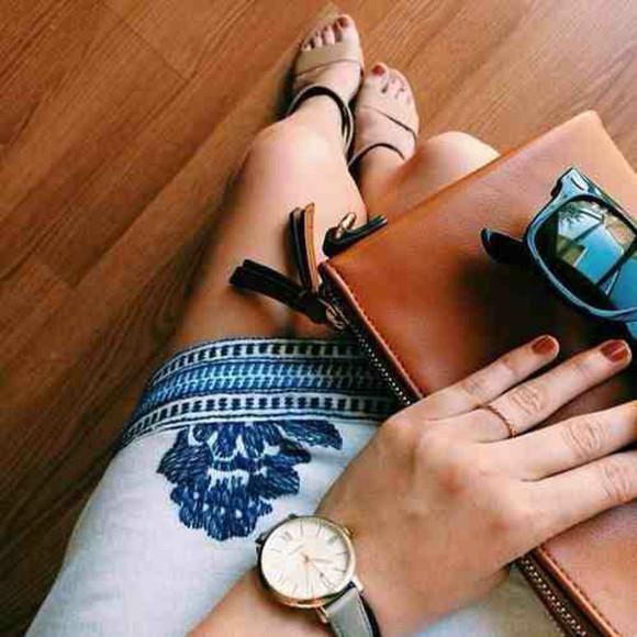 skirt blue skirt shoes