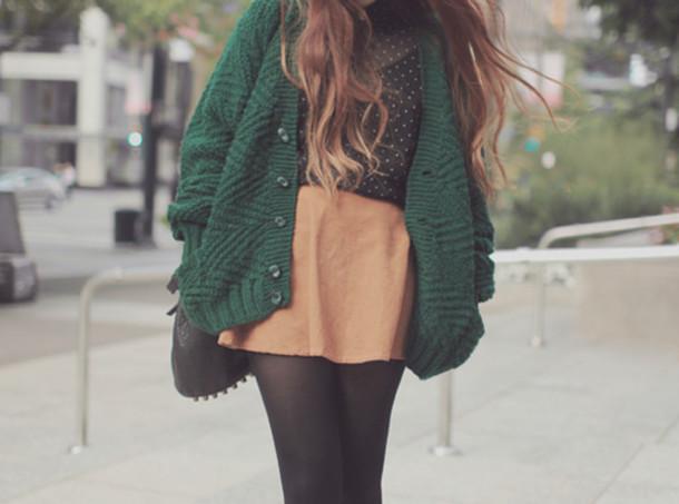 sweater green orange skirt black polka dots blouse shirt coat pants forest green college back to