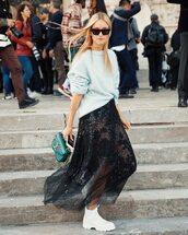 skirt,midi skirt,black skirt,sequin skirt,mesh skirt,white boots,handbag,sweater,knitted sweater,sunglasses