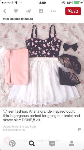 skirt cute top white black summer white skirt summer top style summer skirt summer outfits bag