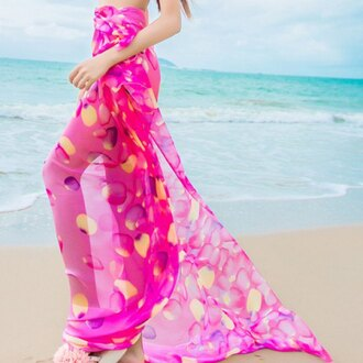 skirt pink summer beach maxi flowy hot pink tropical trendsgal.com