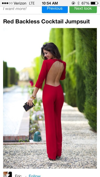 jumpsuit red backless mid sleeve valentine's day