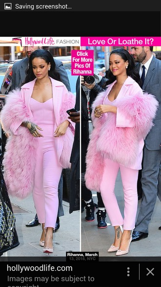 jumpsuit rihanna pink baby pink girly streetstyle blazer fluffy