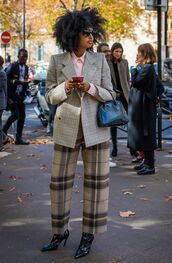 pants,tumblr,streetstyle,plaid,plaid pants,blazer,grey blazer,boots,black boots,bag,black bag,sunglasses