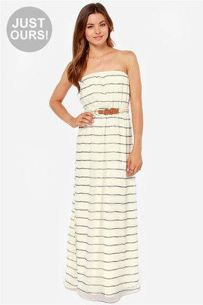 Cute Striped Dress - Maxi Dress - Cream Dress - Strapless Dress - $49.00