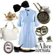 dress,blue dress,light blue,black,drink,eat me,alice in wonderland,alice,disney,cute,cute dress,super cute,watch,ebay,hair bow,bows,bow,gold,necklace,bag,handbag,white,earrings,jewels