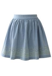 skirt,aztec,stitch,denim,skater skirt,light blue