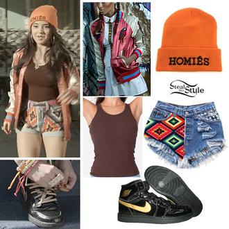 shorts aztec aztec shorts jacket sweater beanie brown tank top orange beanie homies nike high top sneakers becky g