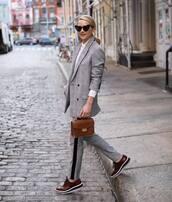 jacket,blazer,pants,shoes,bag,grey blazer