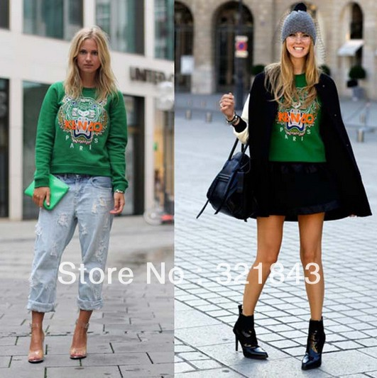 New Paris Fashion European embroidered tiger head pattern animal clothes pullover fleece sweater green Outerwear freeshipping-in Hoodies & Sweatshirts from Apparel & Accessories on Aliexpress.com