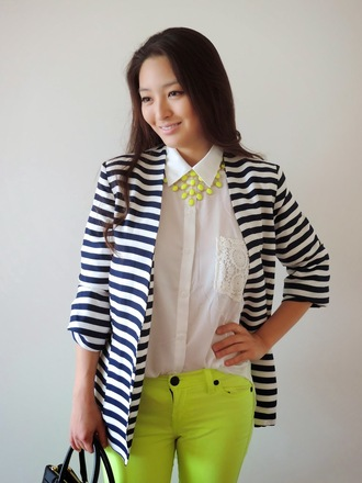 sensible stylista blogger jeans top jacket bag statement necklace neon stripes striped jacket