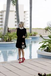 damsel in dior,blogger,dress,t-shirt,bag,shoes,high heel pumps,red heels,black dress,handbag