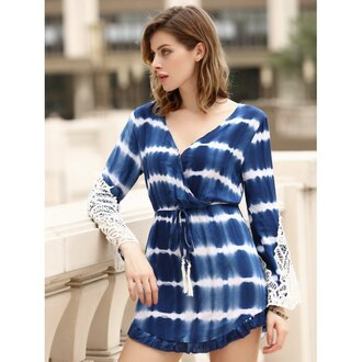 romper blue fashion summer spring tie dye long sleeves rosewholesale.com