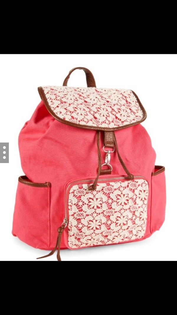 bag backpack pink lace flowers