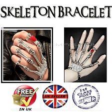 Skeleton hand bracelet ring gothic punk bones skull jewelery slave cuff stretch | eBay