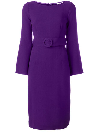 dress belted dress women spandex wool purple pink