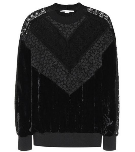 Stella McCartney Lace and velvet sweatshirt in black