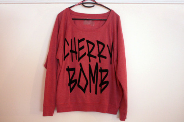 sweater hipster cute rock lovely red