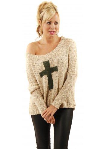 Love Oversized Khaki Crucifix Jumper | In Love With Fashion Green Cross Jumper