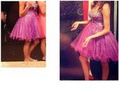 dress,pink dress,short dress,prom dress,prom,short prom dress,homecoming,purple,purple dress,pink,sequins,crystals short prom dress,crystal,strapless,strapless dress,homecoming dress,short homecoming dress,leapord print,leapord print dress
