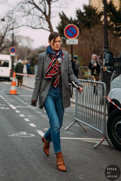 jeans denim high wasted denim jeans blazer grey blazer scarf boots brown boots