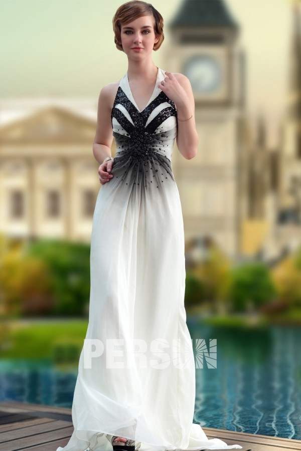 A-line Ivory Chic Halter Sleeveless Sequin Ombre Grad dress [PEBI1740] - PersunMall.com
