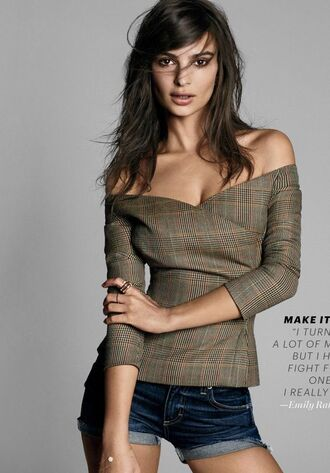 blouse off the shoulder shorts emily ratajkowski editorial model