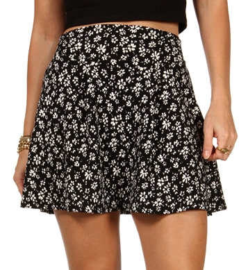 Floral Print Flare Skirt