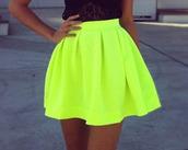 skirt,fashion skirts,t-shirt,black top,neon,green neon skirt,neon skirt,neon lime green flare skirt.,green yellow