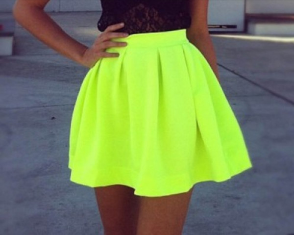 skirt fashion skirts t-shirt black top neon green neon skirt neon skirt neon lime green flare skirt. green yellow