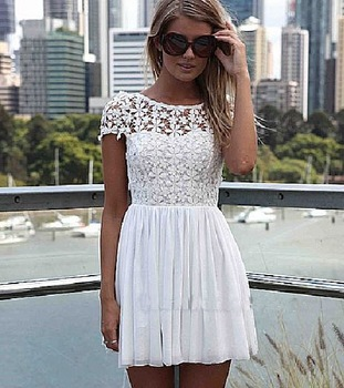 Aliexpress.com : Buy Free shipping 2014 new dresses Hot sale discount hollow lace short sleeves backless white dress lace party dress from Reliable lace plus size dresses suppliers on ANYFASH