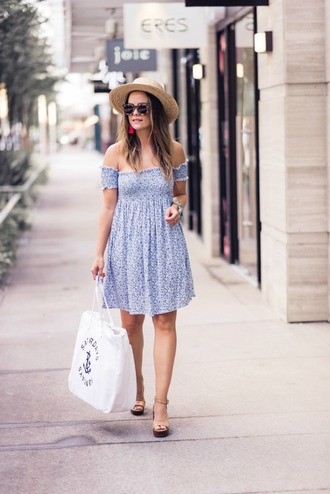 thestyledfox blogger dress jewels hat bag shoes sunglasses mini dress blue dress sandals summer outfits tote bag