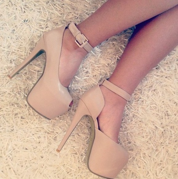 shoes beige heels beige high heels ankle stap