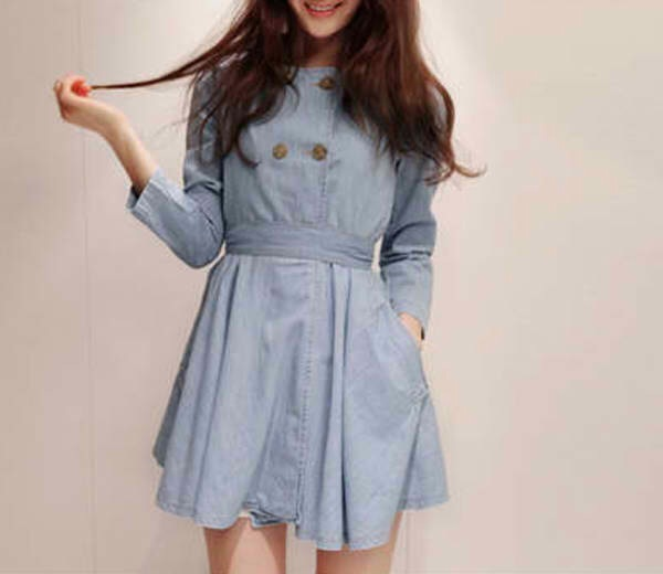 Ladylike Round Collar Reffled Double-breasted Long Sleeves Denim Dress