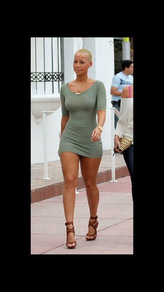 dress green dress amber rose short dress