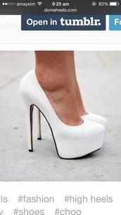 shoes,white,platform shoes,high heels,pumps