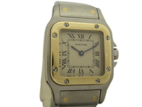 Cartier Santos Ladies Stainless Steel and Gold Quartz Watch | Portero Luxury