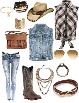 jacket hat cowgirl boots jewels jeans