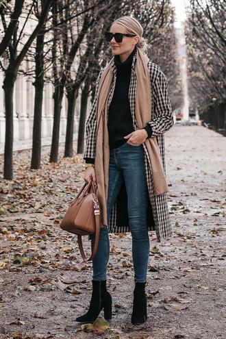 fashionjackson blogger coat sweater jeans shoes scarf bag sunglasses jewels