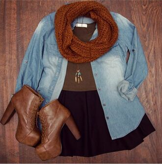 girly colorful skirt jullnard blouse necklace fashion black denim ankle boots brown leather boots snood scarf hipster platform lace up boots