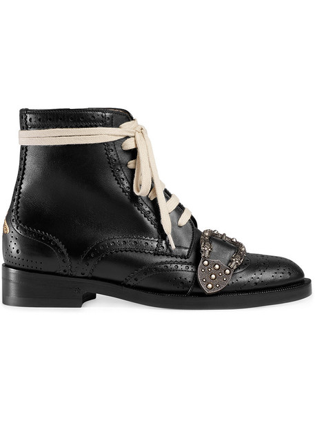 gucci women leather black shoes